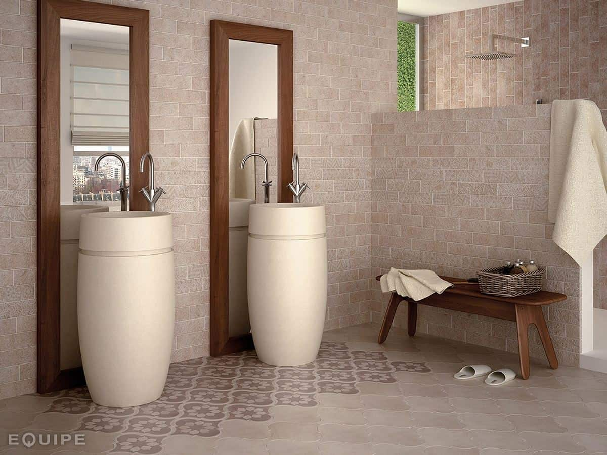 View In Gallery Arabesque Tile Floor Bathroom Rug Look 12