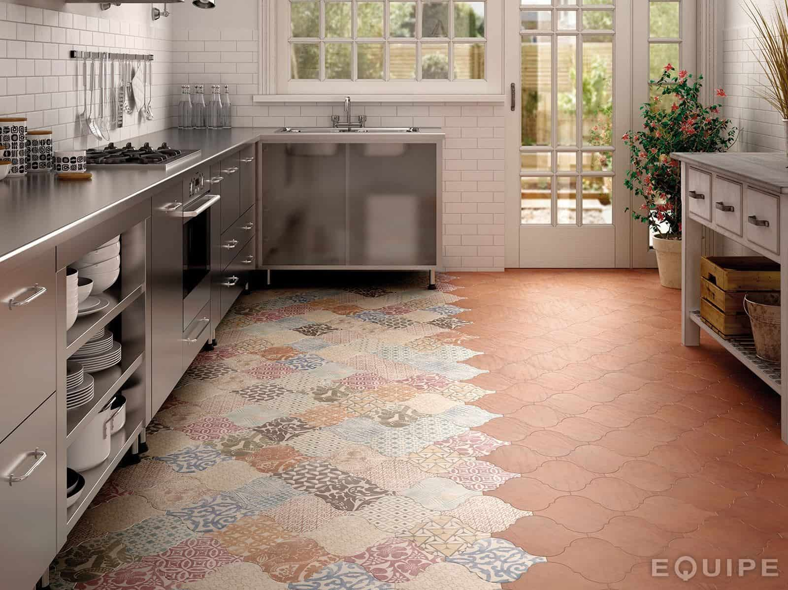 kitchen tile flooring. Beautiful Tile View In Gallery Arabesquetilekitchenfloorpatchworkequipe4jpg Inside Kitchen Tile Flooring N