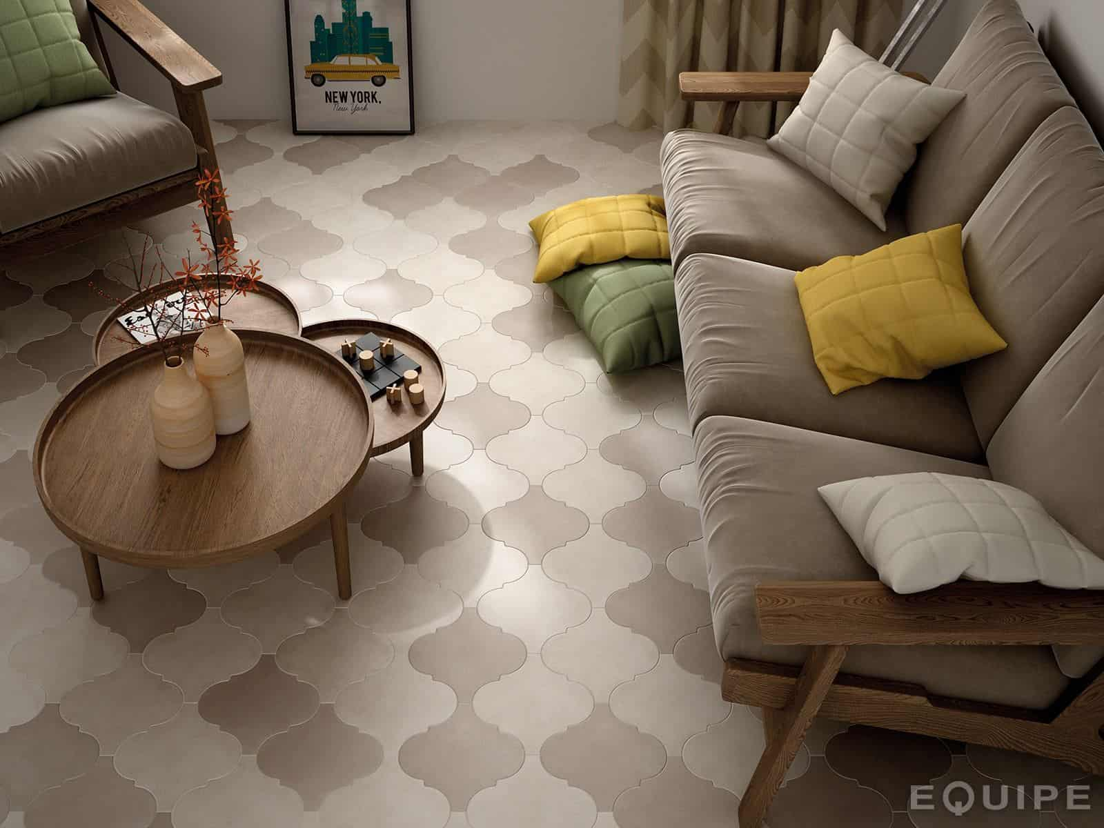 View In Gallery Arabesque Tile Simple Pattern Living Room Floor Equipe
