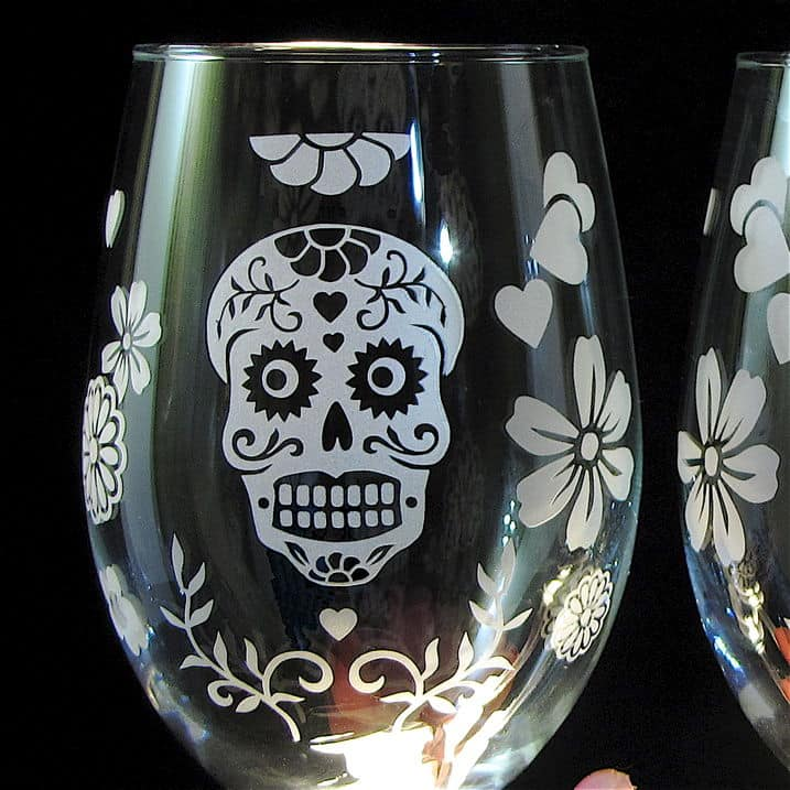 View In Gallery Day Of The Dead Decor Stemless Wine
