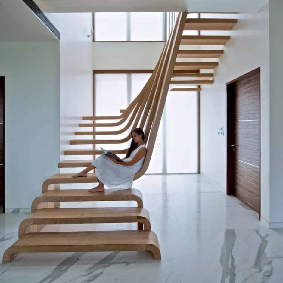 View In Gallery Unusual Unique Staircase Modern Home Wood Sculpture