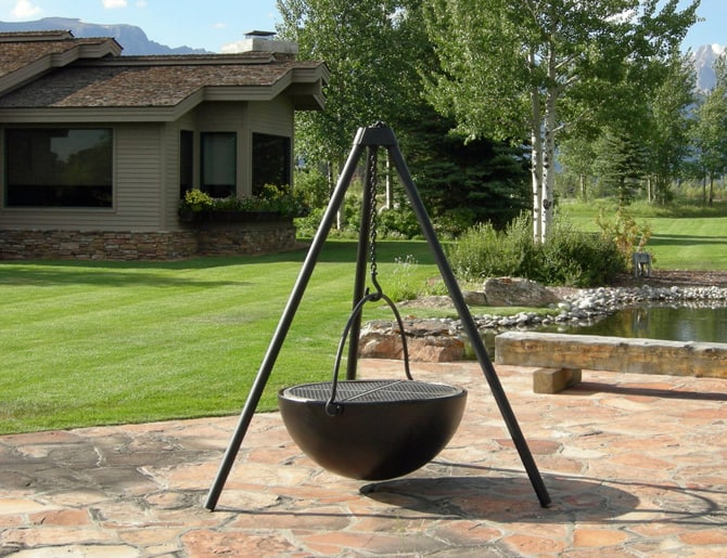 View In Gallery Cast Iron Hanging Bowl Fire Pit Cowboy Cauldron.