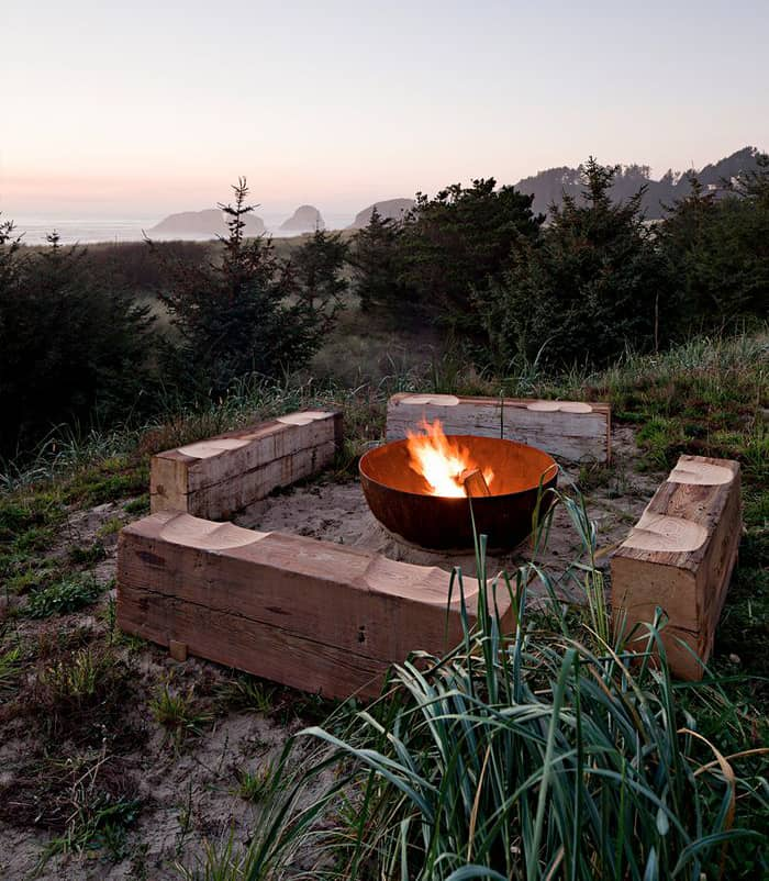 View In Gallery Metal Bowl Fire Pit Centerpiece Setting