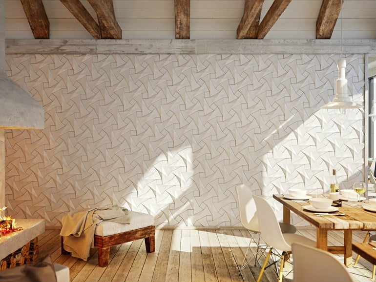 View In Gallery Unusual Tile Ideas 3d Wall Triangles Pictures Gallery