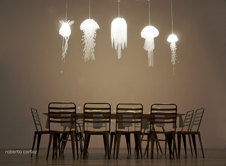 The Medusea Collection Of Hanging Lights By Roxy Rus Above And Below Creates An Incredible Undersea World Jellyfish Over Dining Room Table