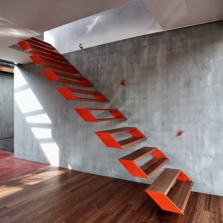 There Is Something Askew About This Design U2013 Oh I Know, Itu0027s The Shadow Box  Treads! A Fun Design By OYO.IS, The Stairs Are Livened Up With A Blast Of  Red On ...