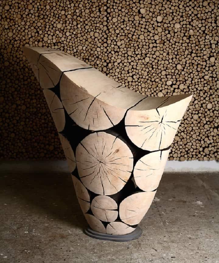 blackened furniture wooden sphere furniture series by lee jaehyo