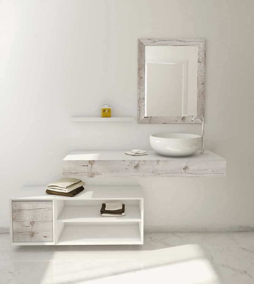 Superb The mirror console vanity and cabinet door all in distressed White recycled Fir Bianchini u Capponi You can also add distressed wood looking tile to your