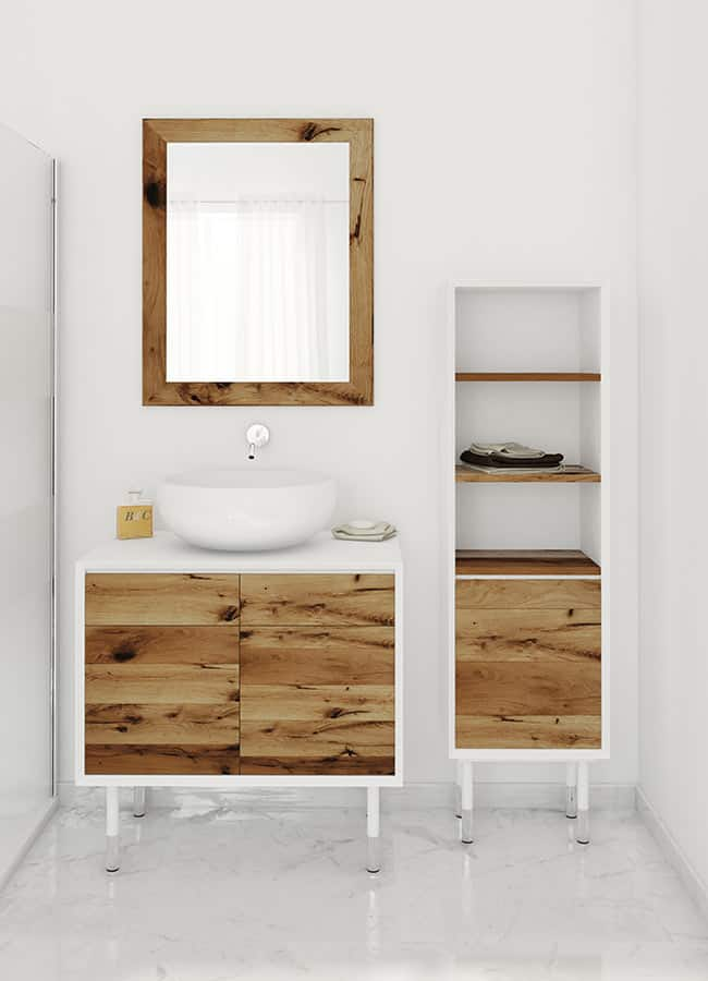 Unique Free standing vanity and cabinet in Oak