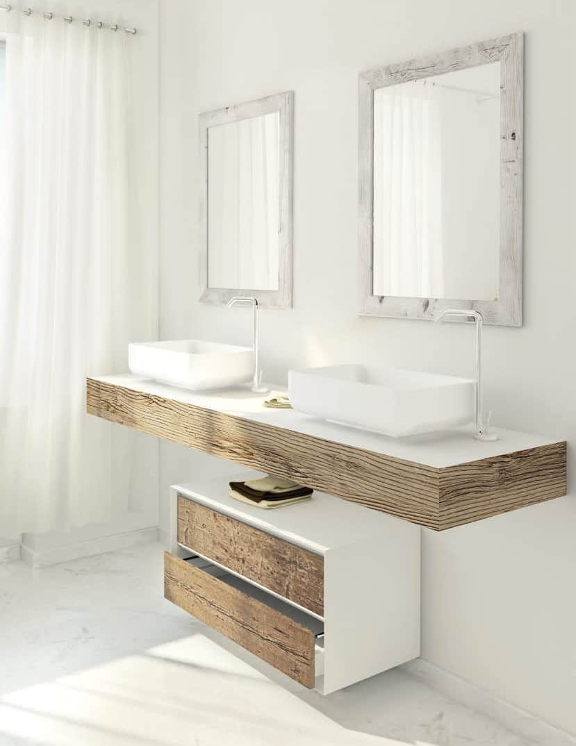 Fabulous A white sink console decorated with recycled Fir