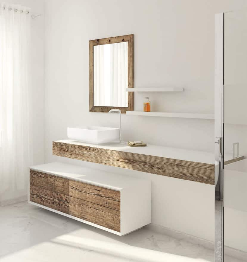 wood vanity en distressed reclaimed bathroom nz cabinet