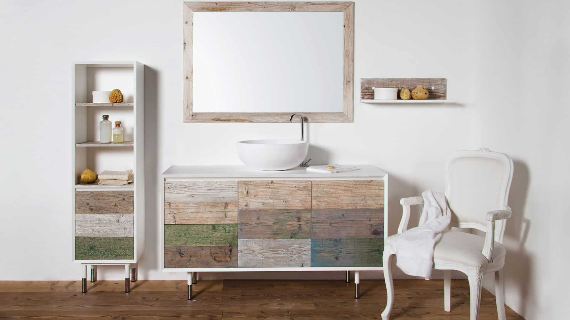 bow bathroom fronted double cabinet wood sink bowl vanity weathered