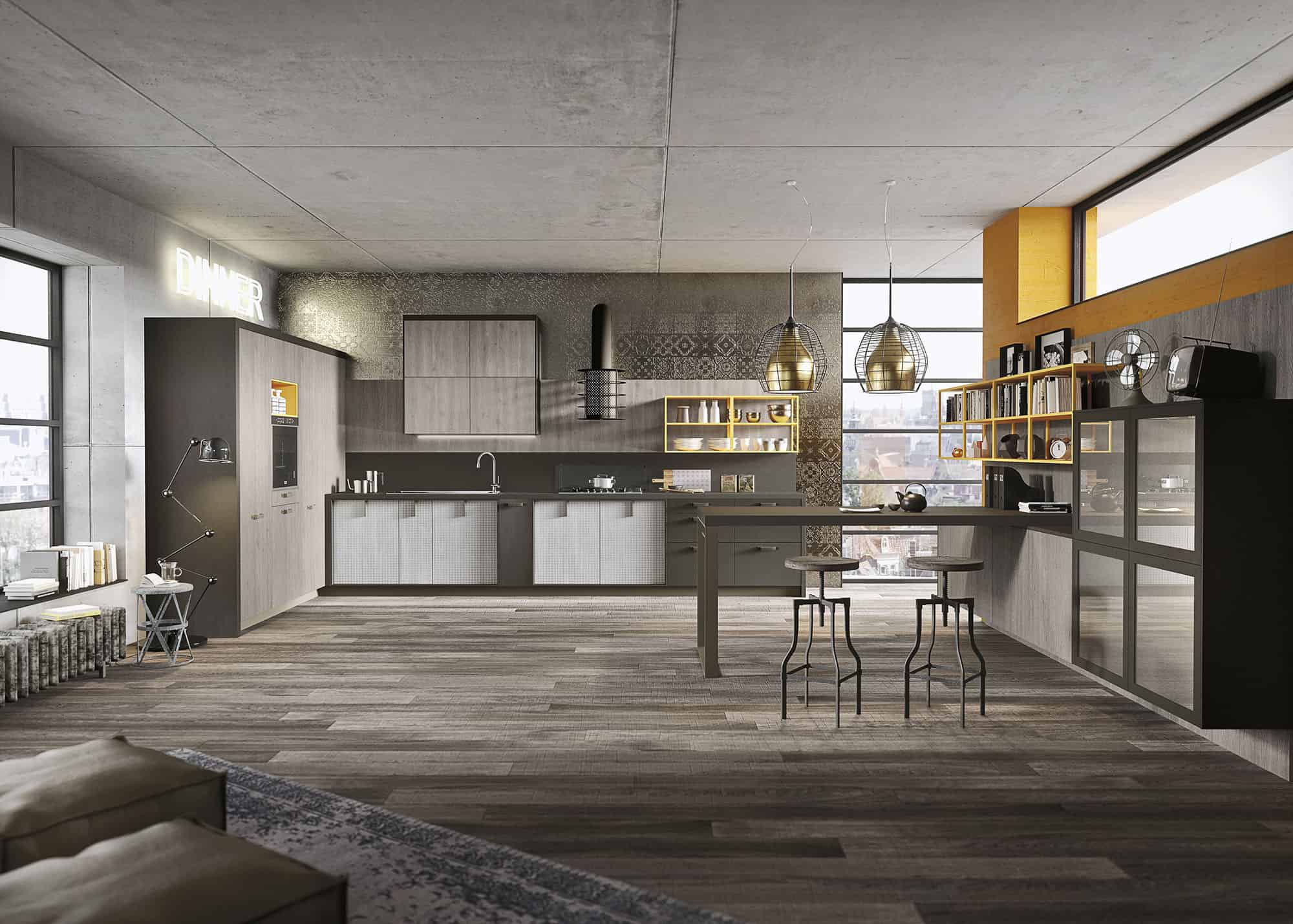 Captivating This Urban Loft Kitchen Design (above) Uses The Same Elements As The One  With The Modern Look But It Features The Weathered Looking U201cFossil Oaku201d  Melamine ... Amazing Pictures