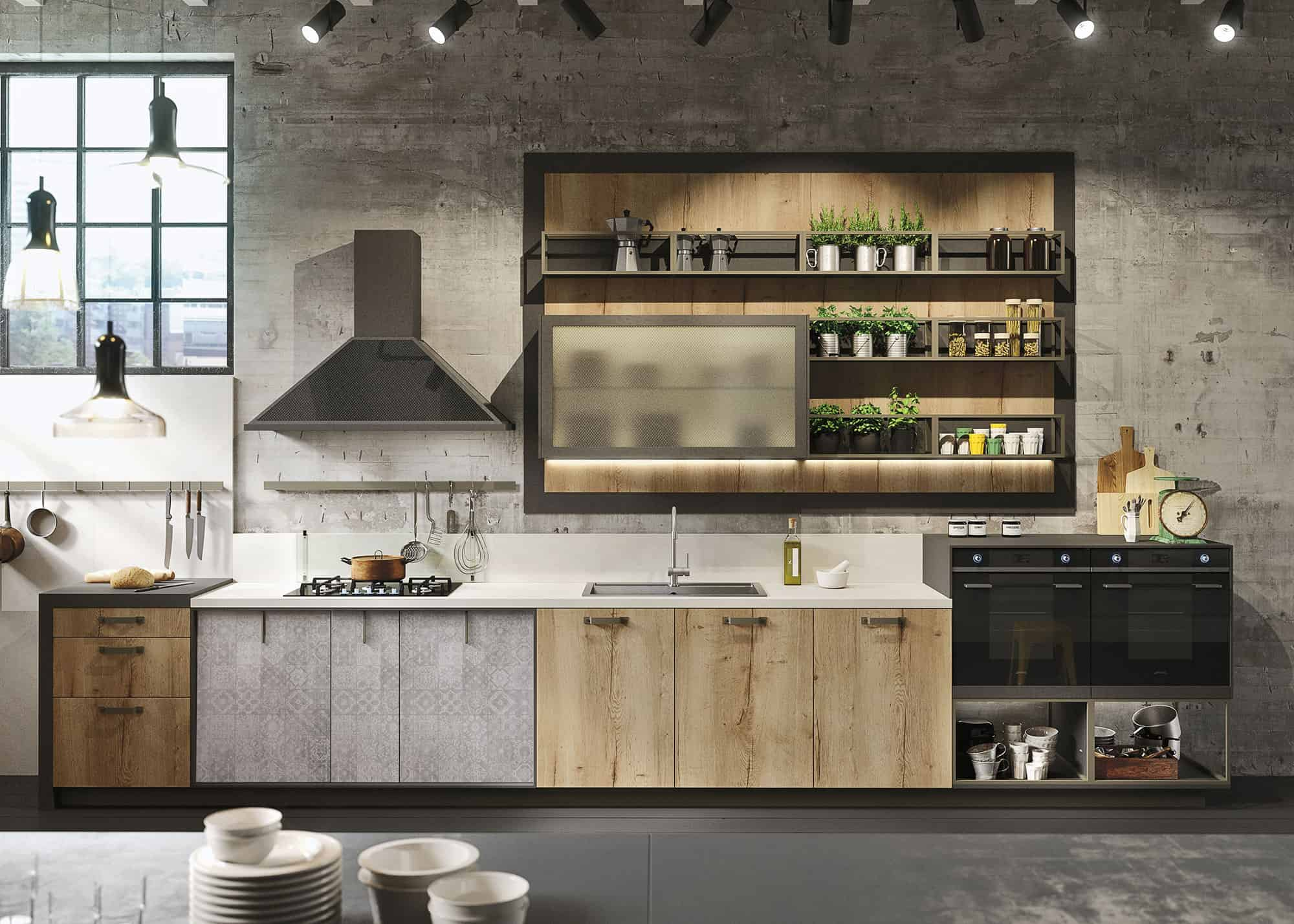 Genial All Of The Snaidero Loft Kitchens Come With Graphic Panels That Can Be Used  In Conjunction With The Wood Look Doors And Drawers, And The Graphic  Pattern In ...