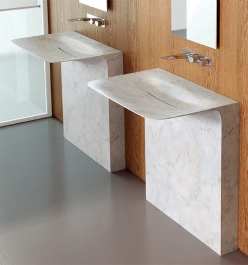 freestanding washbasin in marble teuco milestone 1