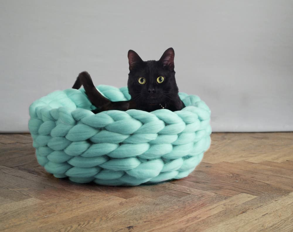 pretty design modern cat bed. Oversized knitting has been showing up everywhere in home decor so it  stands to reason that would also show the form of a cat bed Chic and Cozy Cat Beds 20 Modern Ideas