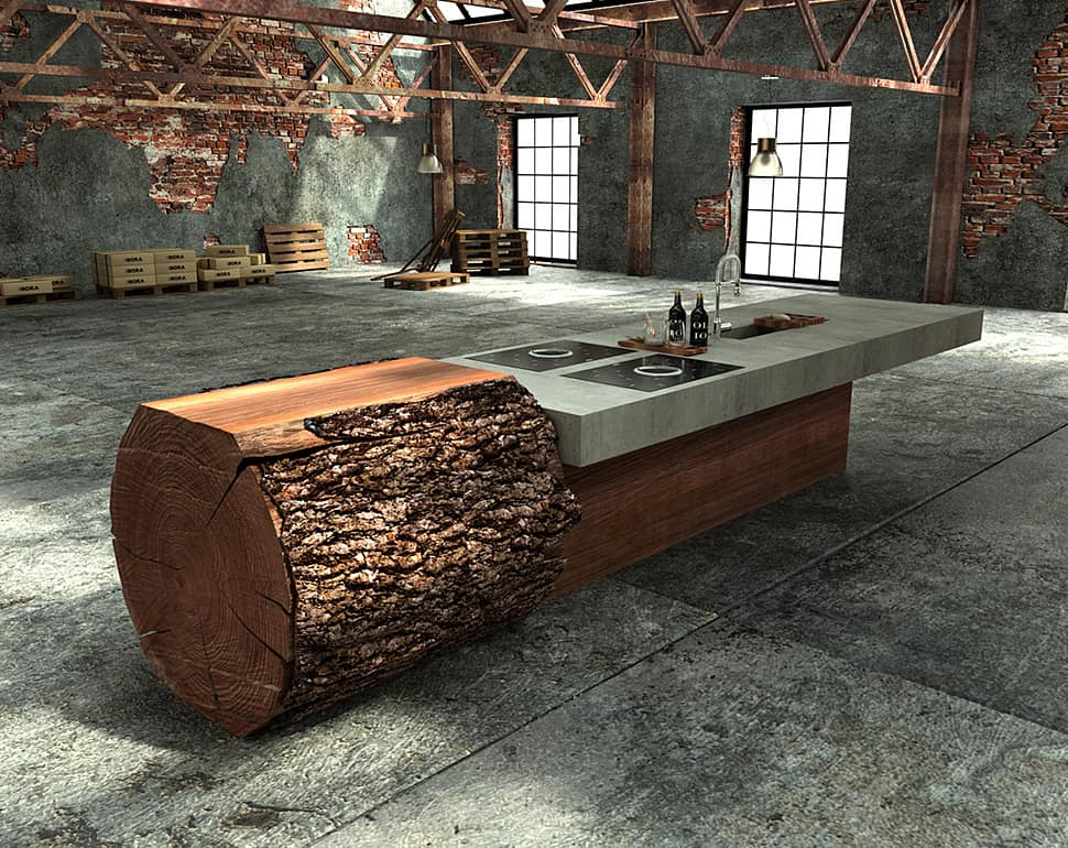 Designed By Willi Bruckbauer For Werkhaus This Kitchen Island Is Made From One Large Tree Trunk Partially In Its Natural State And Milled