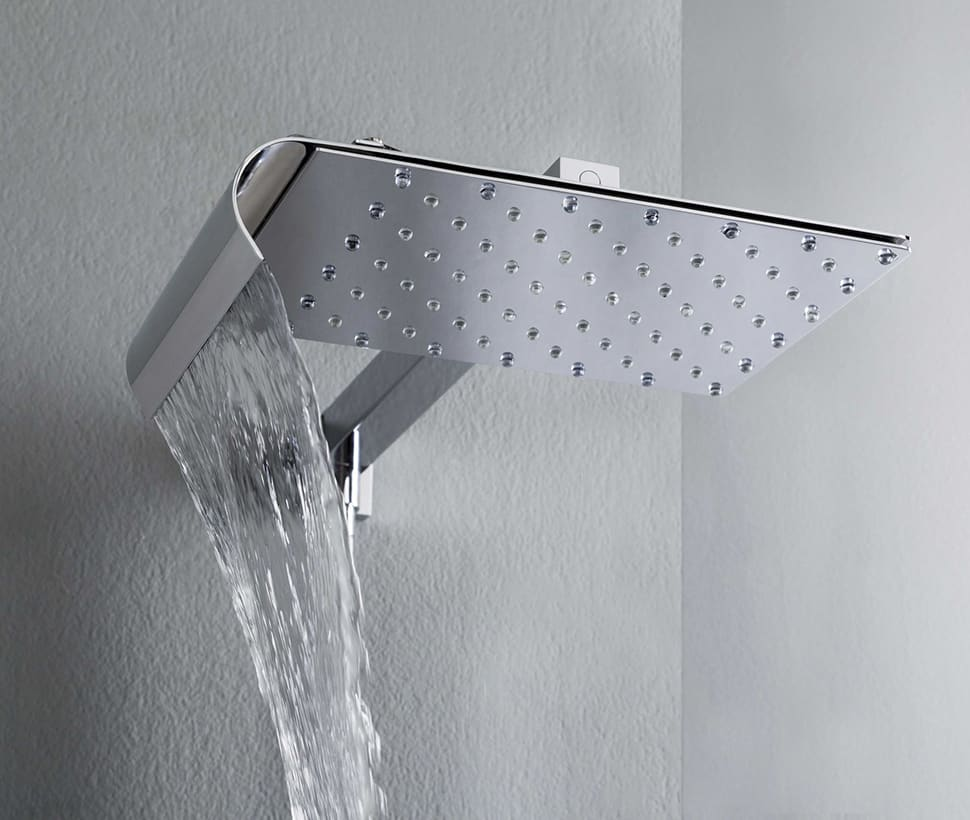Viceversa Above Is A Wall Mounted Rain Shower Head With Arm And Diverter An Adjule Waterfall Very Modern Unique Design That Lets