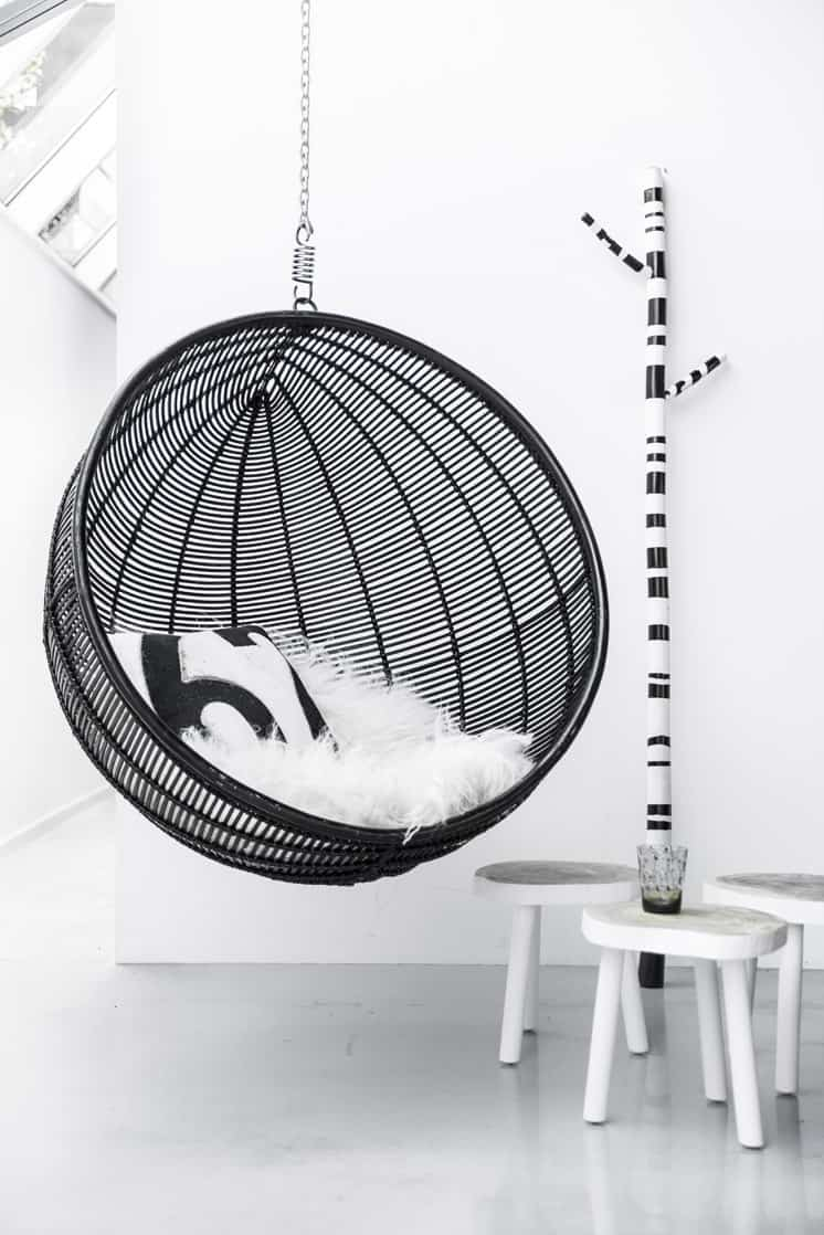 The Hanging Ball Black chair through House of Orange combines the best of  the Bubble Chair with the best of rattan to create a fun and oh-so-modern  hanging ...
