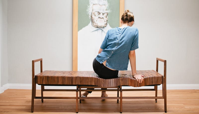 Captivating Using Kinetic Design To Create An Ergonomic Bench, Sitskie Furniture  Created Block From FSC Certified Solid Domestic Hardwood.