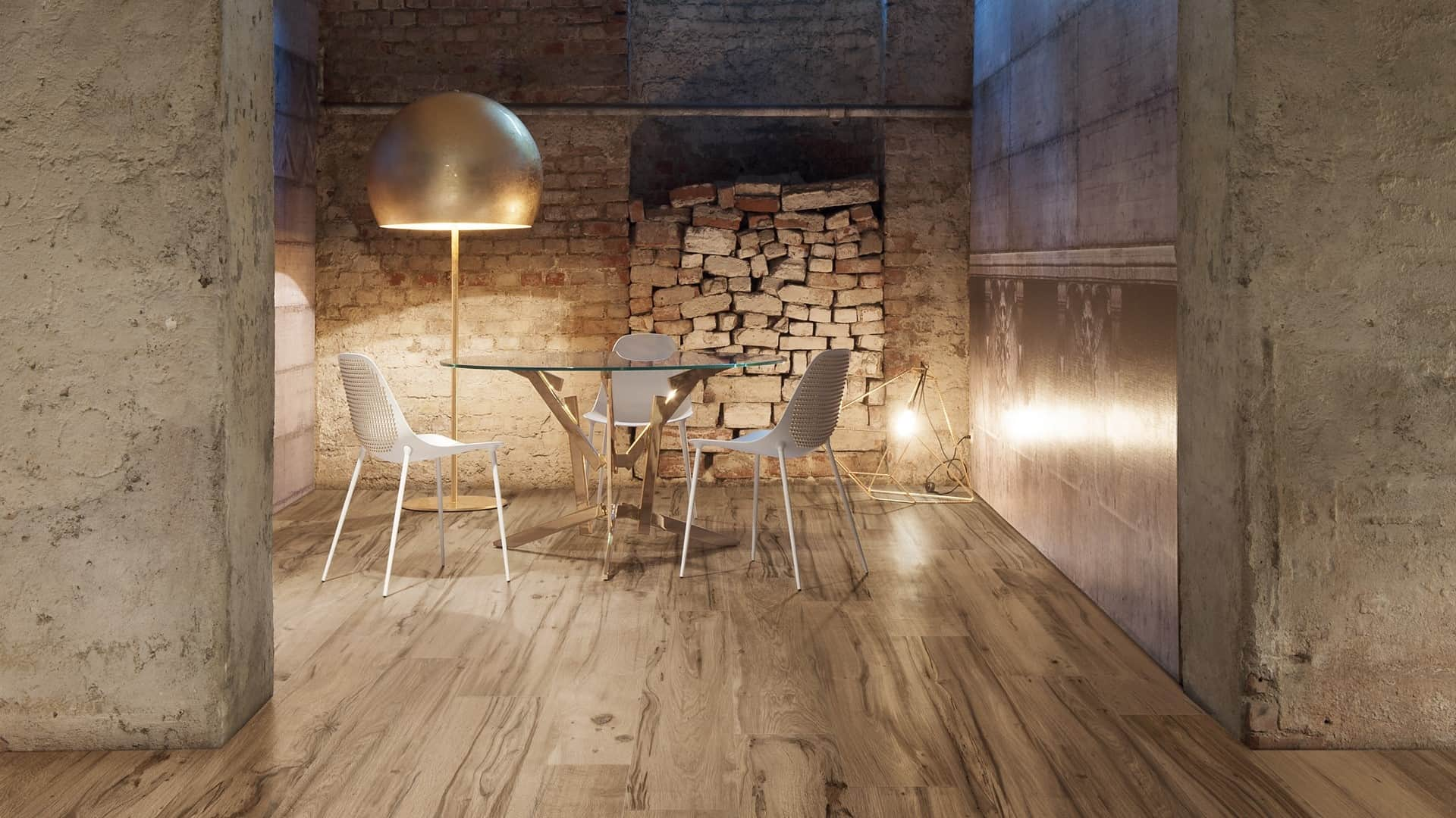 Wood effect tiles for floors and walls 30 nicest porcelain and rustic wood effect porcelain tiles layer in perfectly with the brick concrete and steel used in this modern dining room just venice by gardenia orchidea doublecrazyfo Choice Image