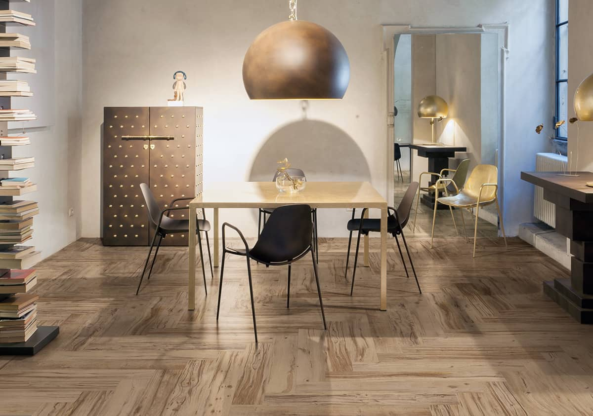 dining room tile flooring. now note, if you take the same exact tile (as above) and lay it in herringbone pattern, changes look style of a dining room entirely. flooring