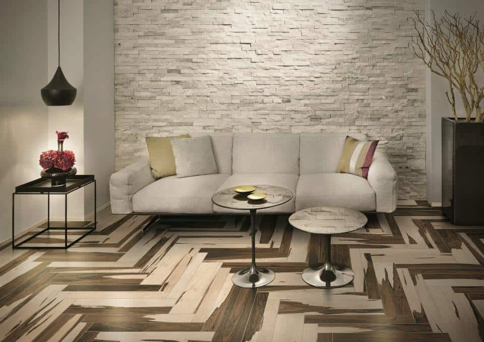 view in gallery - Wood Tile Floor Living Room