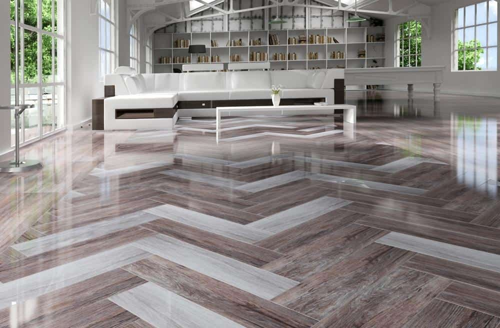 View In Gallery Rectified Wood Effect Tile Floor ...