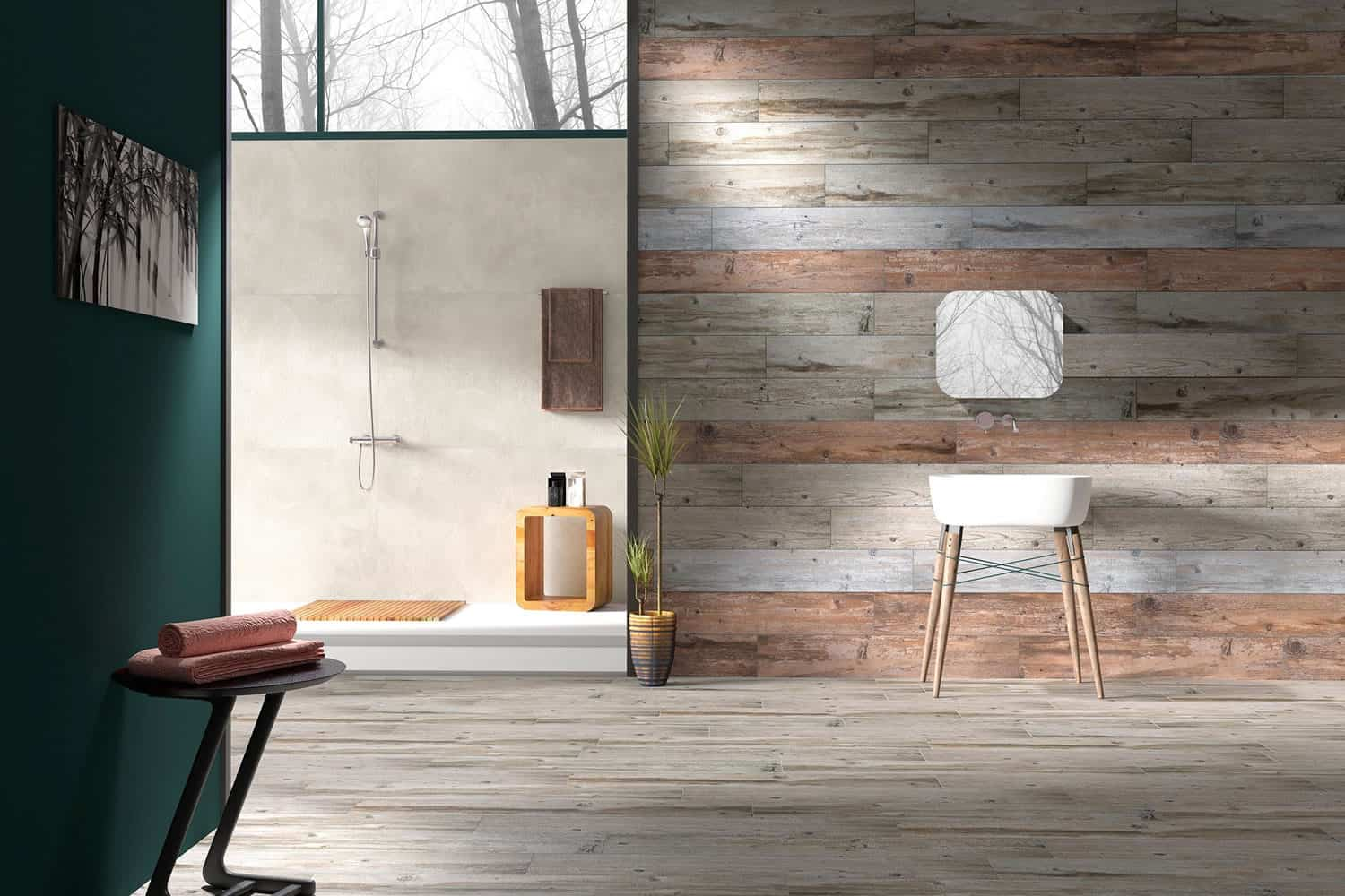 View In Gallery Vintage Wood Effect Tile Walls Floor