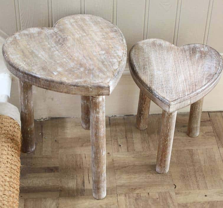 Charming For A More Rustic, Distressed Furniture Look, This Heart Shaped Mango Wood  Table From Not On The High Street Has A Light White Wash On Both The  Tabletop And ...