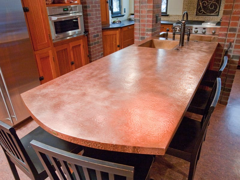 Modern kitchen countertops from unusual materials 30 ideas copper and zinc will both react to acidic foods such as lemon solutioingenieria Images