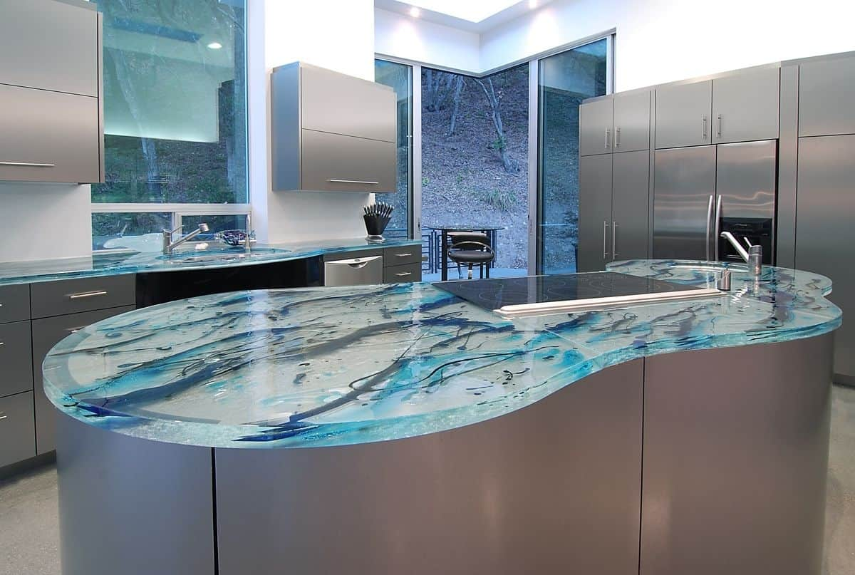 Modern Kitchen Countertops from Unusual Materials: 30 Ideas on blue wall colors for countertops, blue kitchen countertops with white veins, blue countertops granite, stone tile kitchen backsplash ideas, white modern kitchen design ideas, blue bahia kitchen countertops, blue green kitchen counters, blue and green kitchen, tin kitchen backsplash ideas, blue countertops bathroom, blue and gold color scheme kitchen, blue countertops with wood cabinets, to close off open kitchen ideas, blue solid surface countertops, blue kitchen counter designs, blue quartz countertops, kitchen counter ideas, blue silestone countertops,