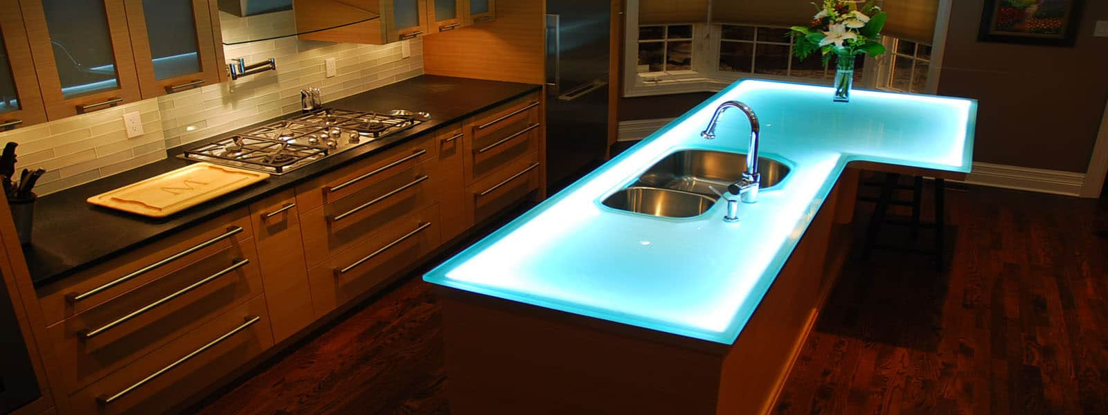 Modern Kitchen Countertops from Unusual Materials: 30 Ideas on teal tile kitchen, teal paint kitchen, teal wallpaper kitchen, teal backsplash kitchen, teal quartz countertops, teal floor kitchen,