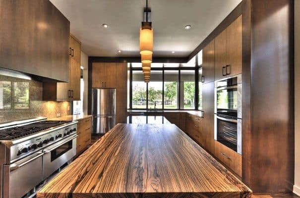 Marvelous The Exotic Zebra Wood Kitchen Countertop Is A Design Piece, No Question.  Donu0027t The Gorgeous Wood Grains Carry Your Eye Right Down The Length Of The  ...