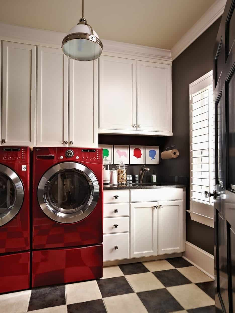 Simple remodel chess floors can change the game doing a simple black white tile floor in the laundry room really takes it up a notch and its a small space that means less time to do it dailygadgetfo Gallery