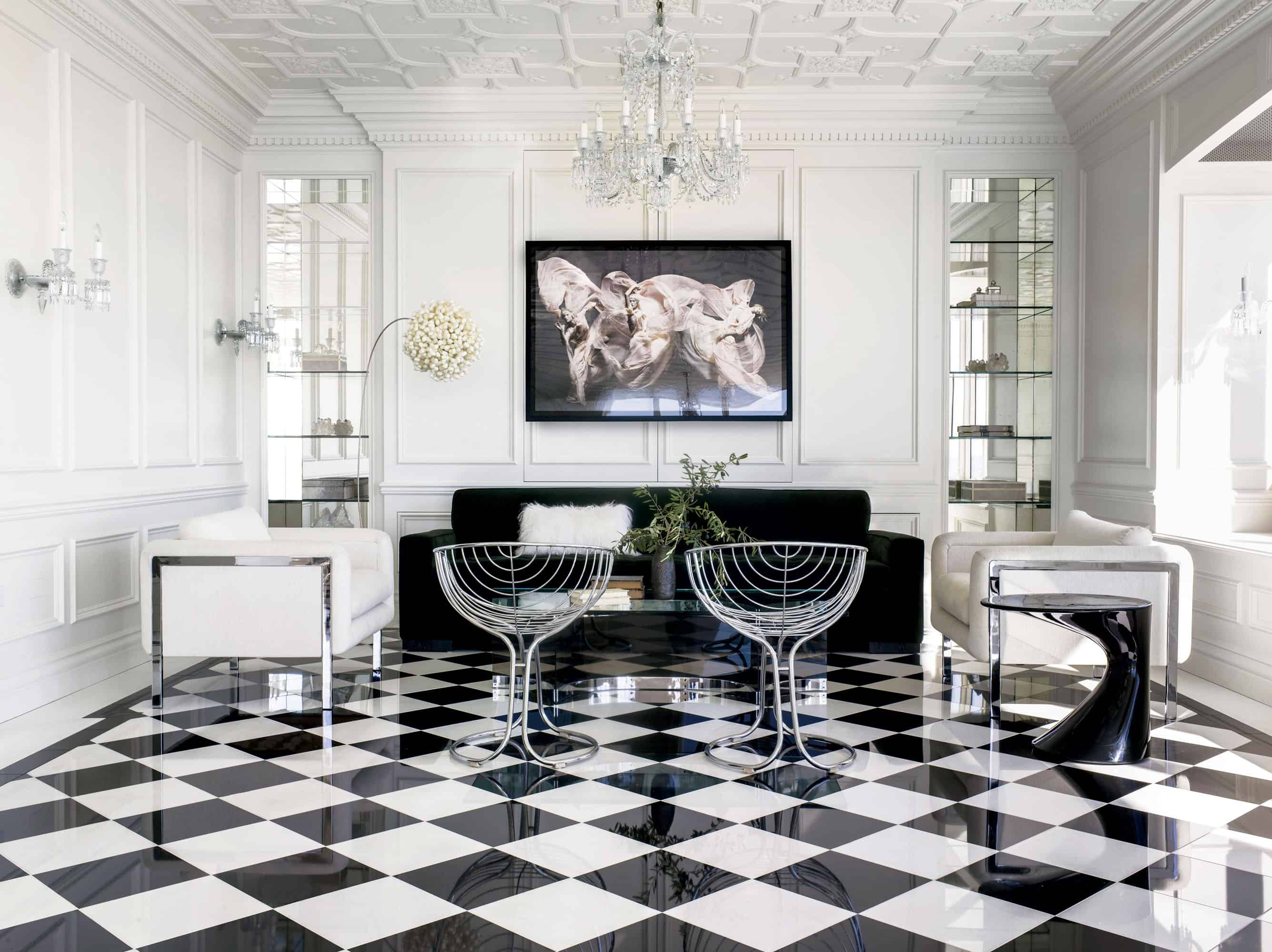 black and white floor tile kitchen. View in gallery  Simple Remodel Chess Floors Can Change the Game