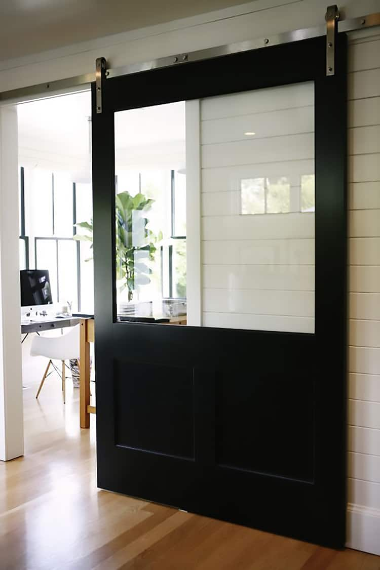 Perfect This Industrial Barn Door Has A Huge Glass Panel To Allow Natural Light,  While Still Closing Off The Room.