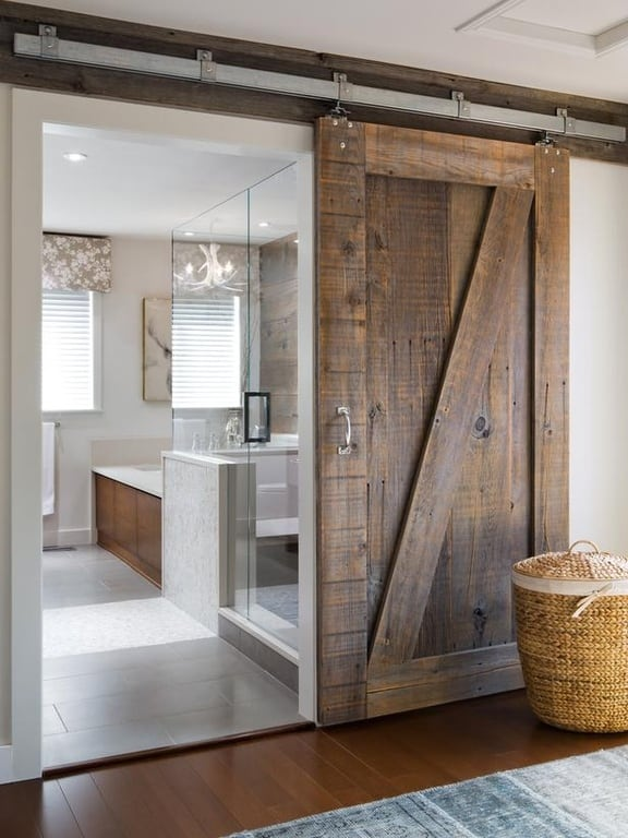 The Master Bath Door Is Rustic Alder Imagine E You Would Lose If D Put A Hinged On This Room Sliding Design Perfect Solution