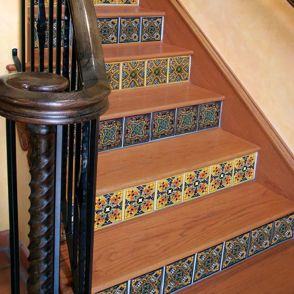 Rows Of Tile Patterns Change As You Climb Up These Wooden Stairs.