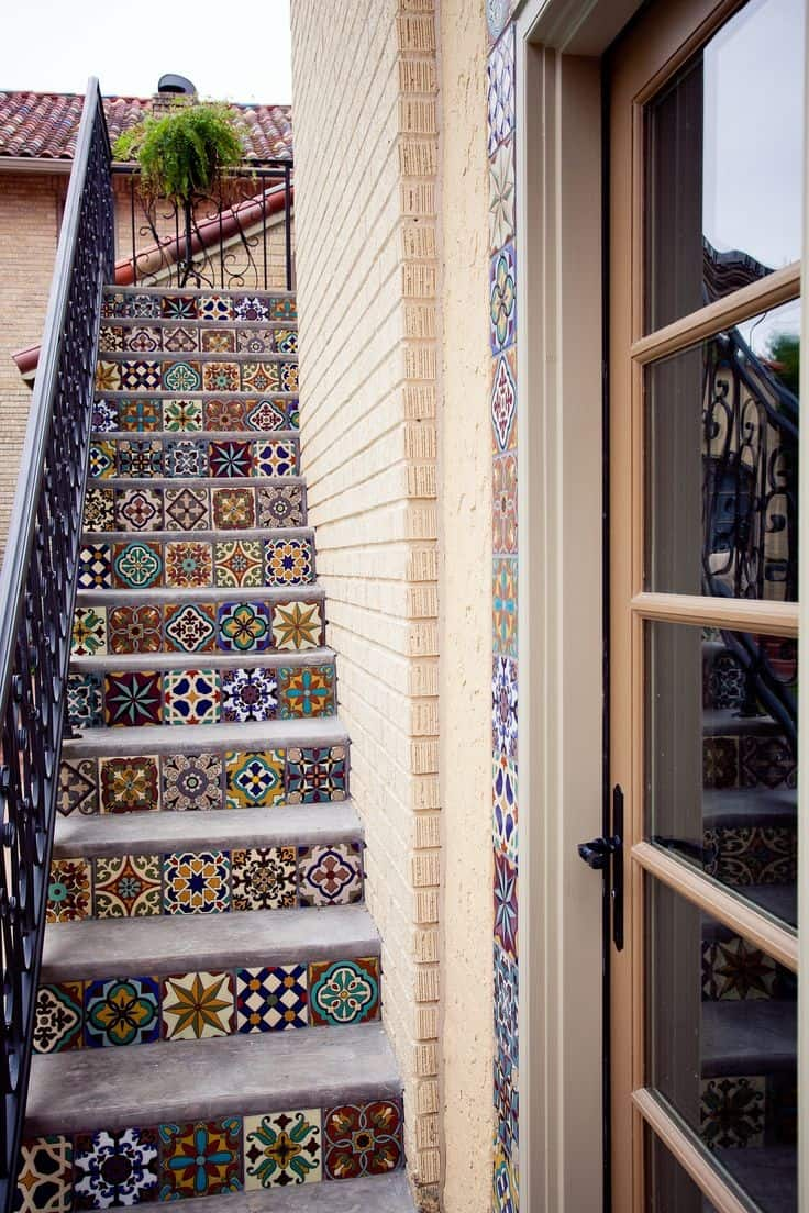 44 top talavera tile design ideas mix match talavera tiles on a set out outdoor stairs notice the matching border on the doorway on the right dailygadgetfo Image collections