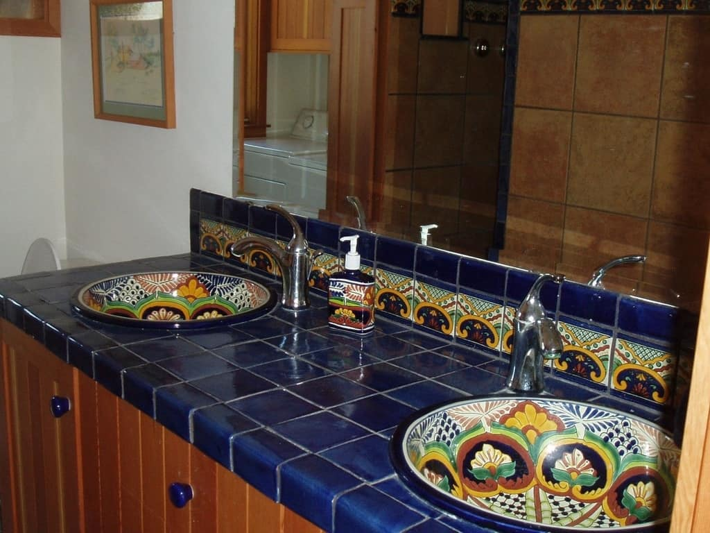 44 top talavera tile design ideas for Tile countertops bathroom ideas