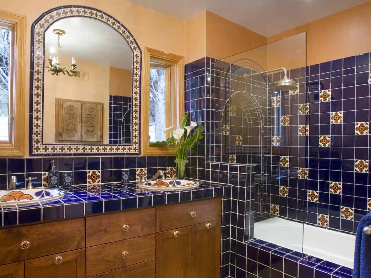 44 top talavera tile design ideas for Mexican themed bathroom ideas