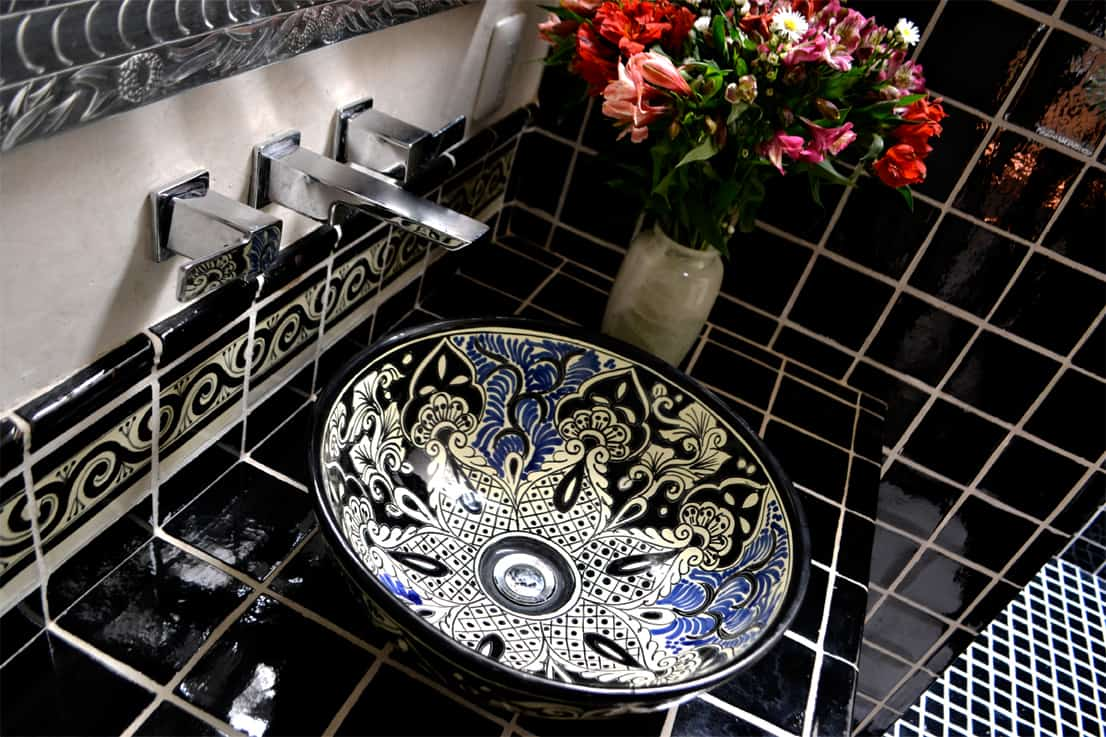 Top Talavera Tile Design Ideas - Black and white talavera tile