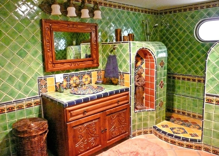 Lovely We do admit that one can go a little over the top it was the niche with the religious figure that did us in But aren ut these tiles nice and cheerful