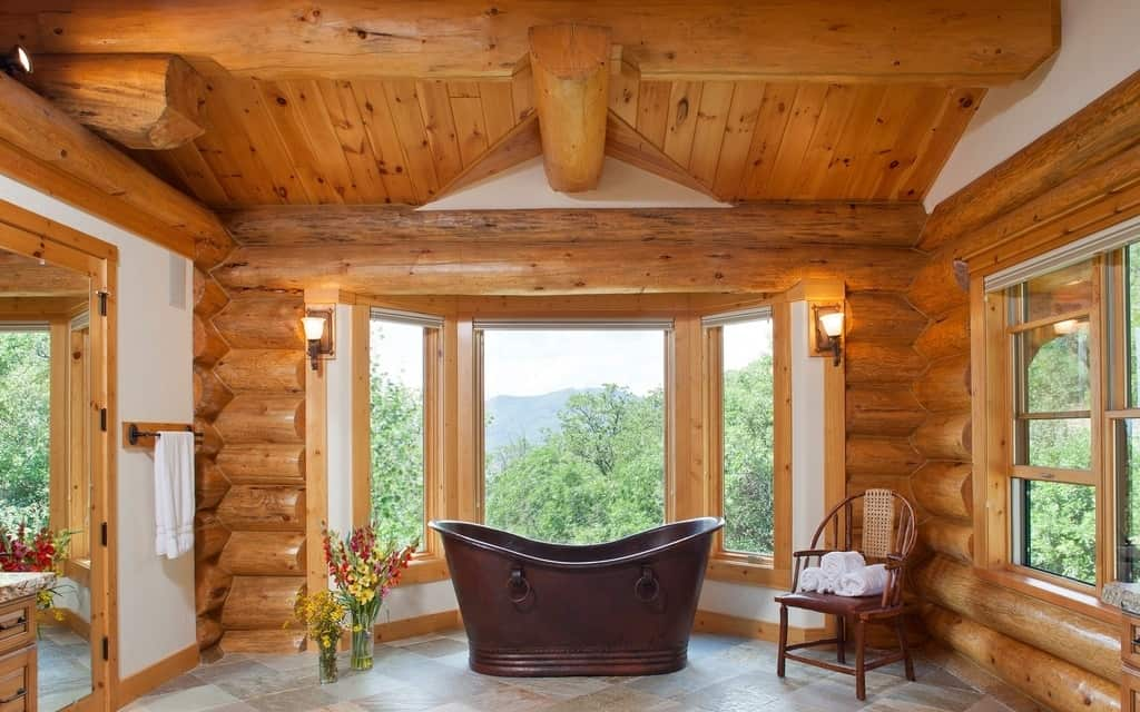 View In Gallery Log Bathroom With A Mountain View 16