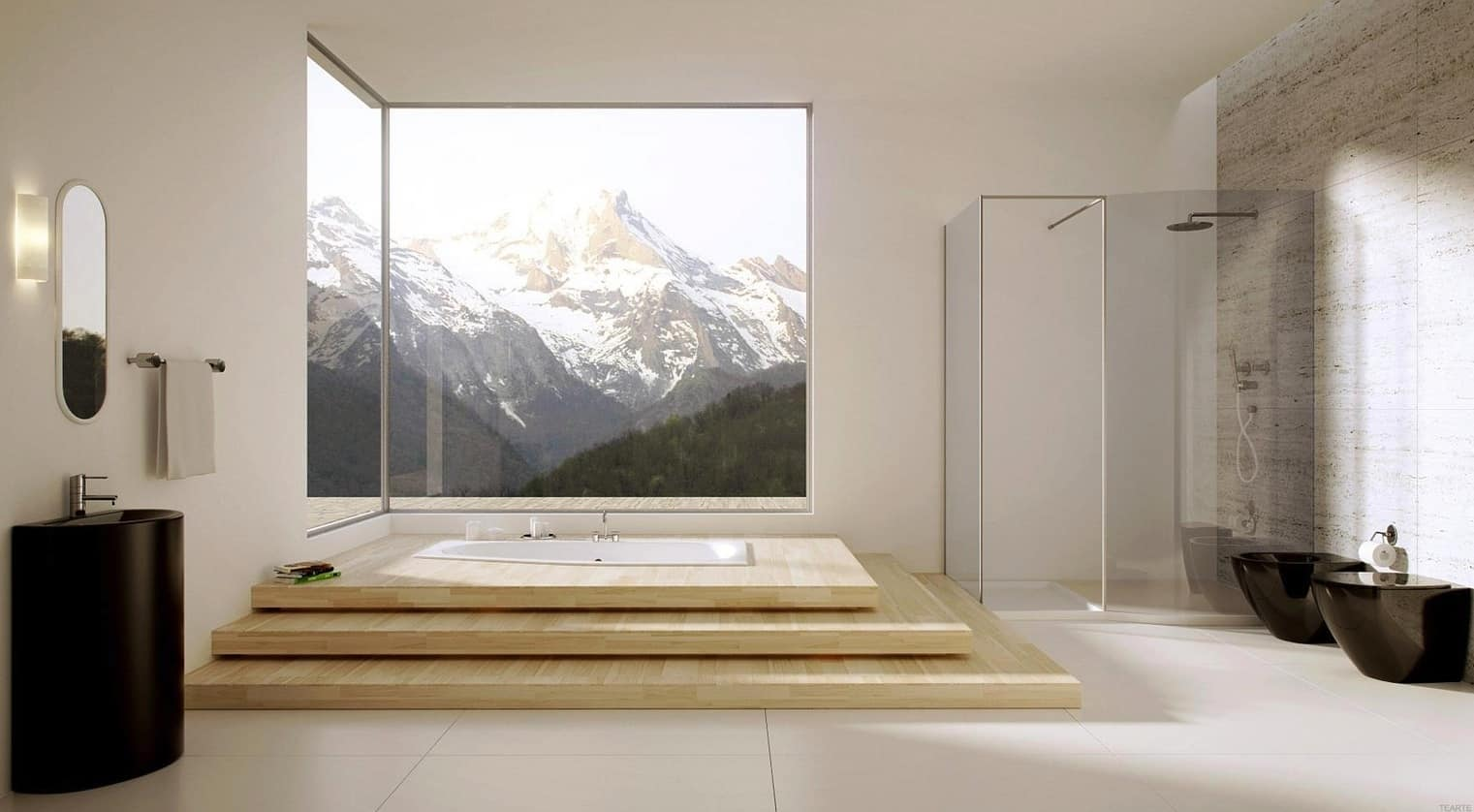 40 stunning luxury bathrooms with incredible views for Minimalist hotel