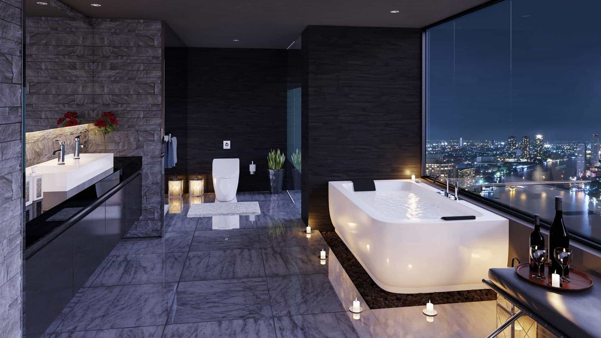 Superb View In Gallery Sleek Bathroom With City Views And Floor Candles