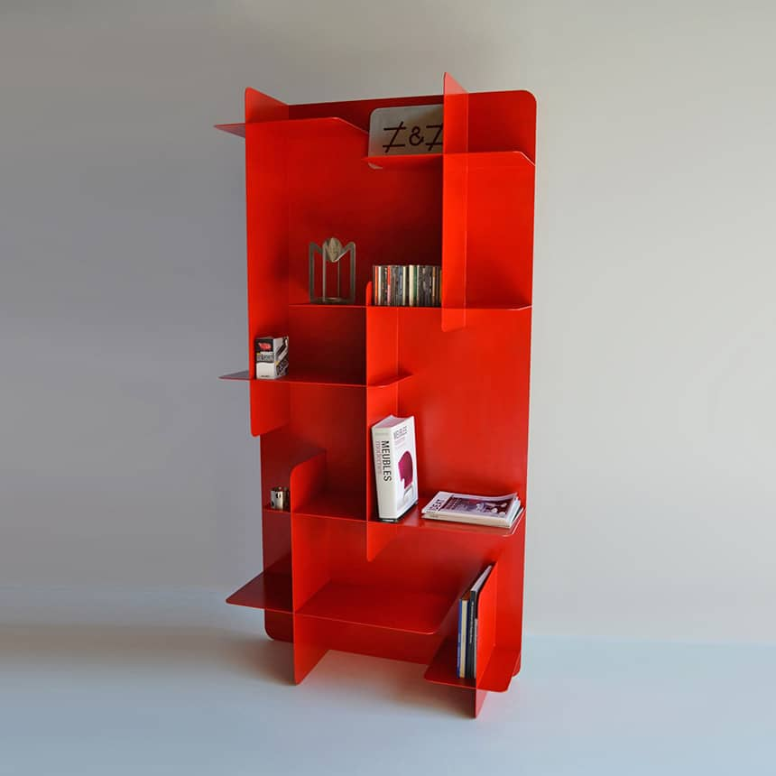 Phenomenal 3 Modern Red Metal Bookshelves Interior Design Ideas Clesiryabchikinfo