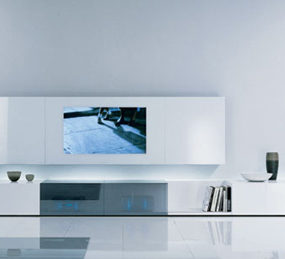 Contemporary Wall Unit by Acerbis – New Concepts audio/video unit with concealed loud speakers