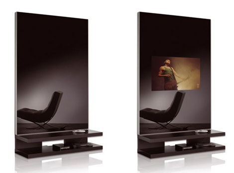 adnotam lcd glass glass tv line 1 TV Mirror Wall Unit   Multimedia Mirror Furniture by AdNotam